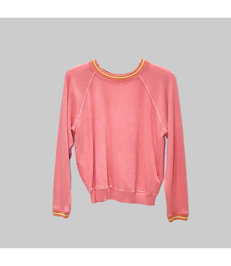THE GREAT THE STRIPED RIB SHRUNKEN SWEATSHIRT