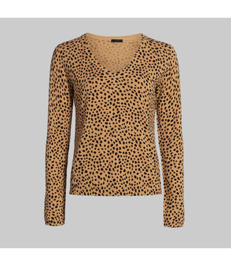 ATM COTTON CASHMERE CHEETAH PRINTED V-NECK SWEATER
