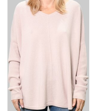 SPUN BY SUBTLE LUXURY NELLY WASHABLE CASHMERE V-NECK PULLOVER