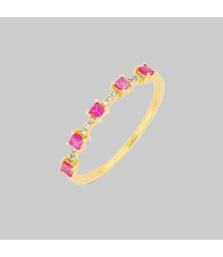 EF COLLECTION 14 KY Y 5 PINK SAPPHIRE AND DIAMOND PRINCESS STACK RING