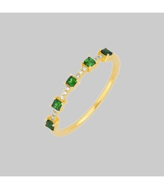 EF COLLECTION 14 K Y TSAVORITE AND DIAMOND PRINCESS STACK RING