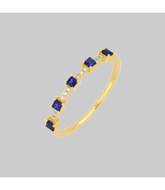 EF COLLECTION 14K Y BLUE SAPHITE AND DIAMOND PRINCESS STACK RING