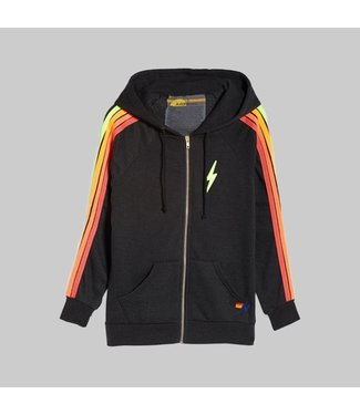 AVIATOR NATION BOLT EMBROIDERY CLASSIC 4 - ZIP HOODIE BLACK/NEON