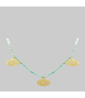 ILEANA MAKRI ALL SEEING 3 EYE NECKLACE WITH CRYSOPRASE BEADS AND DIMONDS