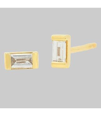 ERINESS 14K YELLOW GOLD DIAMOND BAGUETTE STUDS