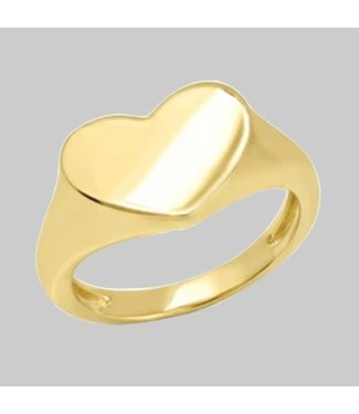 ERINESS 14K YELLOW GOLD SMUSHED HEART PINK RING