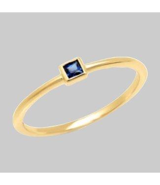 ERINESS 14K YELLOW GOLD  BLUE SAPPHIRE PRINCESS CUT PINKY RING