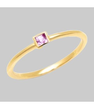 ERINESS 14K YELLOW GOLD  PINK SAPPHIRE PRINCESS CUT PINKY RING