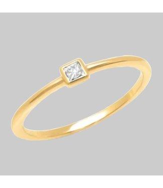 ERINESS 14K YELLOW GOLD DIAMOND PRINCESS CUT PINKY RING