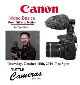 Canon Video Basics Thursday, October 15th, at 7PM