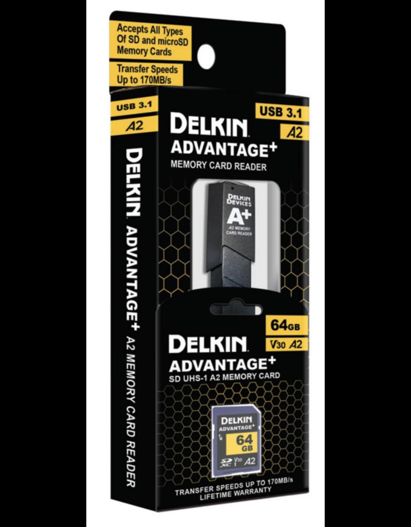 Delkin Delkin ADVANTAGE + UHS-I A2 64GB SDXC w/Reader 170MB/s Read 90MB/s Write