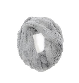 H Brand Kate Hand Knit Rabbit Fur Twisted Scarf