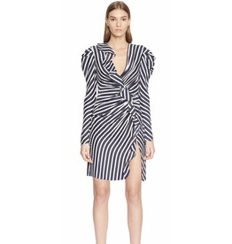 Jonathan Simkhai Stripe Ruffle Short Slit Dress