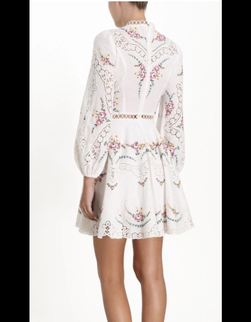 Zimmermann Zimmermann Allia Cross Stitch Short Dress