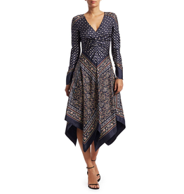 Jonathan Simkhai SCARF PRINT DEEP V L/S DRESS