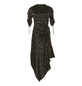 Jonathan Simkhai HAMMERED SILK RUCHED SLEEVE DRESS