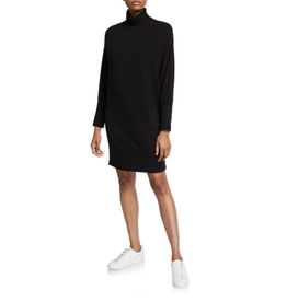 Majestic French Terry Relaxed Turtleneck Dress