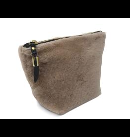 Kempton & Co. Blush Shearling Makeup Bag