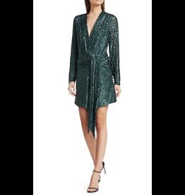 Jonathan Simkhai Sequin Emb Deep V Drape Front Mini Dress