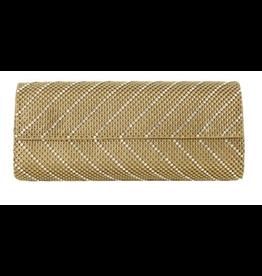 Whiting & Davis Diagonal Crystal Flap Bag