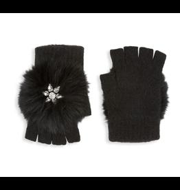 Glamourpuss Embellished Angora Fingerless Gloves w/ Fox