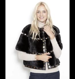 Glamourpuss Collarless Mink S/S Jacket w/ Studs