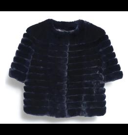 Glamourpuss Collarless Rex Cord Jacket w/ Suede Insert