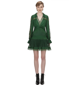 Self-Portrait GREEN FINE LACE TRIM MINI DRESS