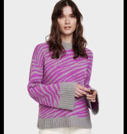 White + Warren Zebra Crewneck Sweater