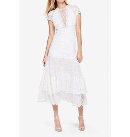 Jonathan Simkhai MULTIMEDIA LACE TIER MIDI DRESS