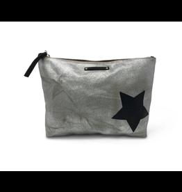 Kempton & Co. Kempton Metallic Canvas Black Star Pouch-Silver/Black