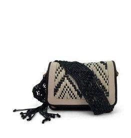 Kempton & Co. Woven B+W Eva Shoulder Bag