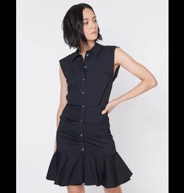 Veronica Beard Bell Button Down Rouched Shirt Dress