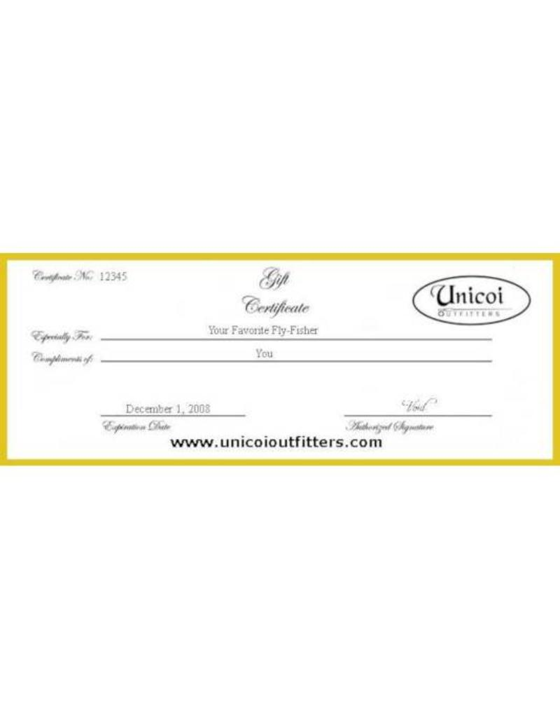 Unicoi Outfitters Gift Certificate - Riverside Trophy Trout Fishing