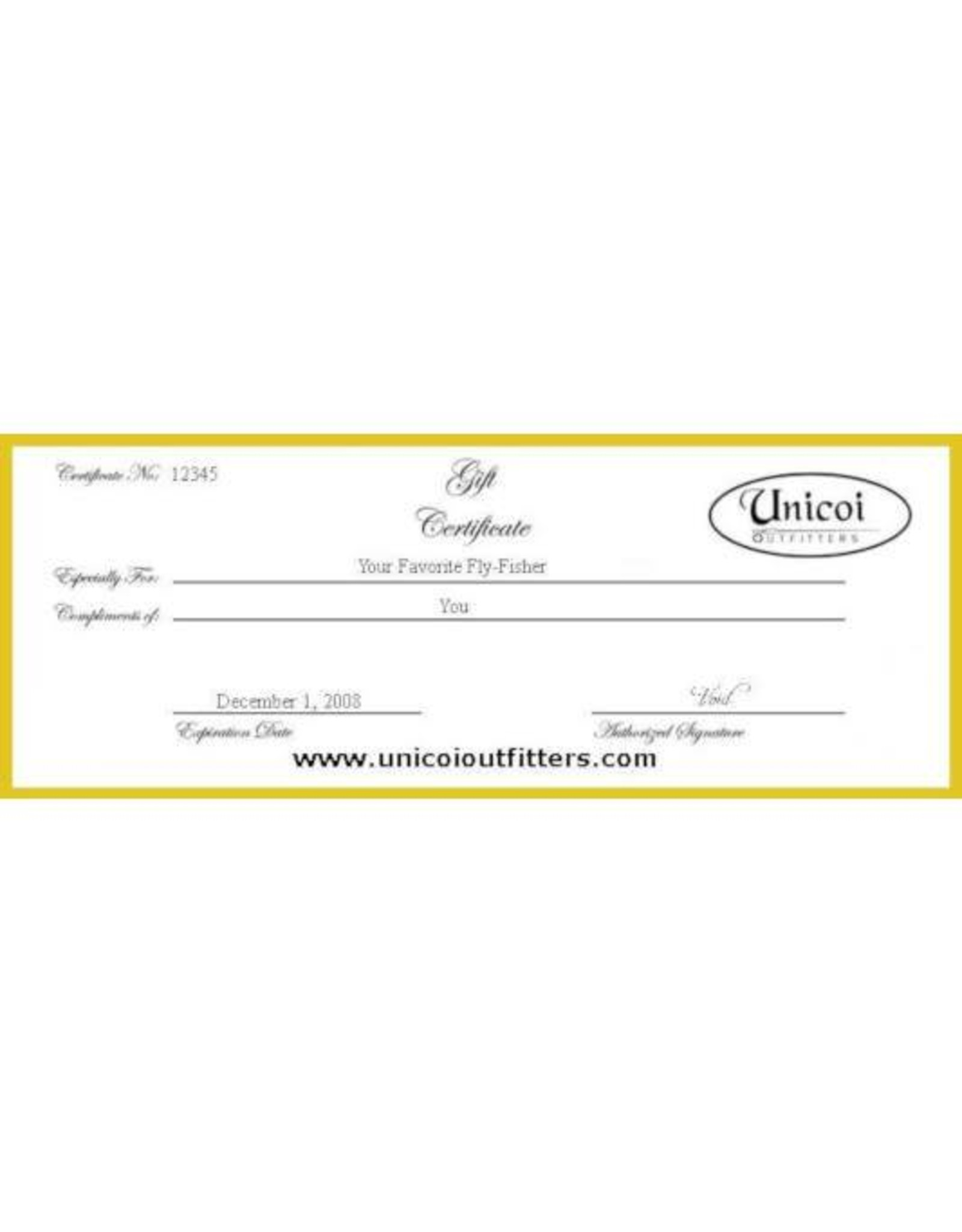 Unicoi Outfitters Gift Certificate - Gilligan Special