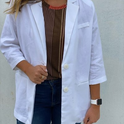 Molly Bracken Collared Blazer Off White
