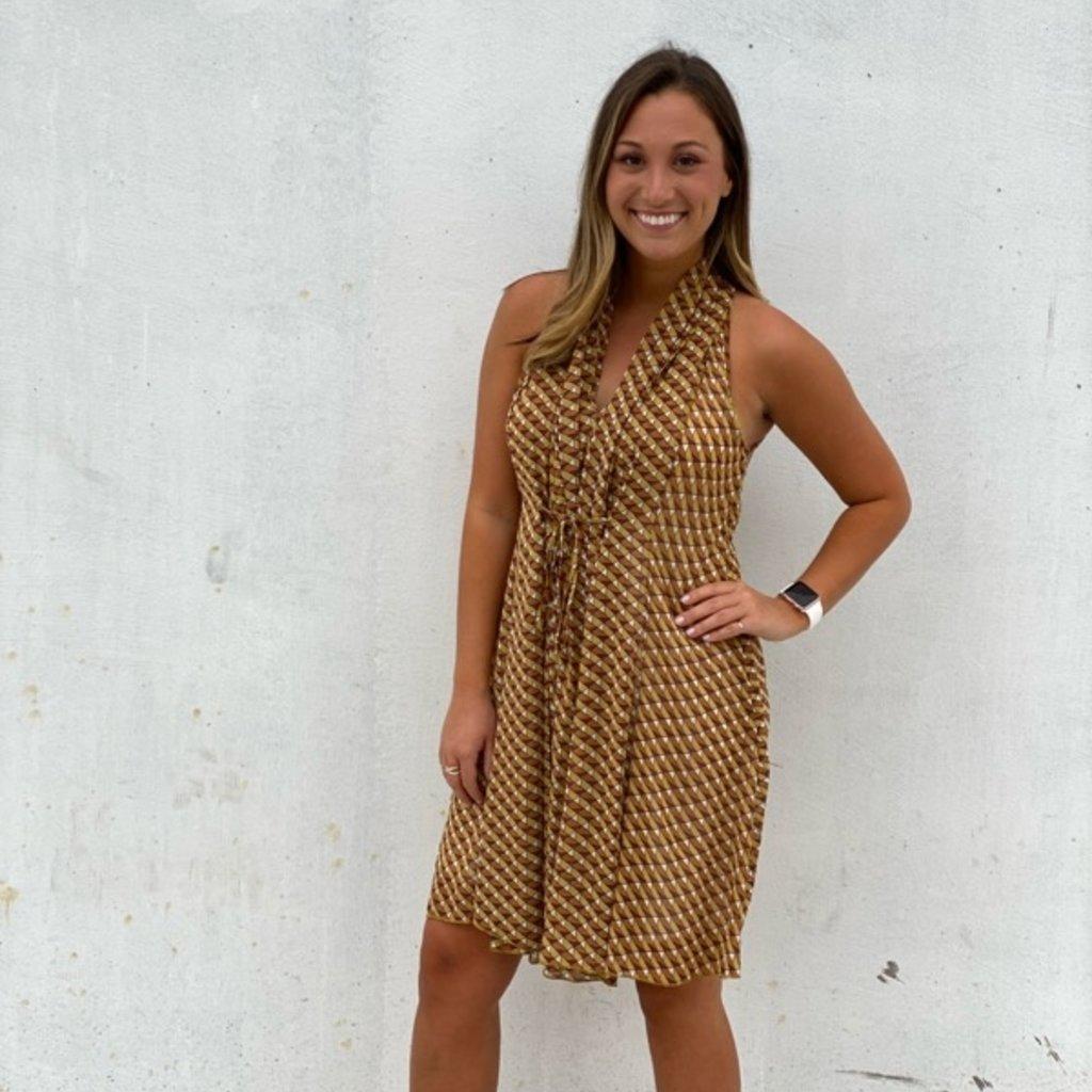 Molly Bracken Sleeveless Art Deco Dress Beige