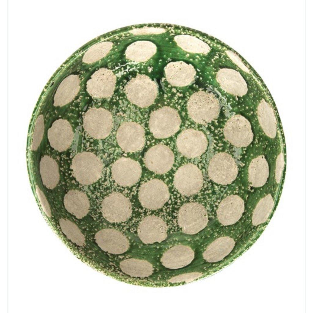 Creative Co-Op Decorative Green Bowl with dots