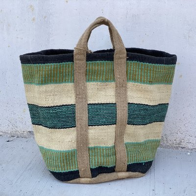 Creative Co-Op Striped Jute Bag w/ Handles