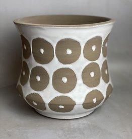 Creative Co-Op Terra-cotta Pot w Circle Pattern