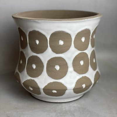 Creative Co-Op Terra-cotta Pot w Circle Pattern