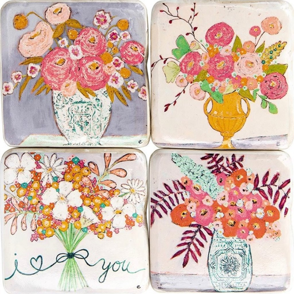 Creative Co-Op Floral Square Coasters