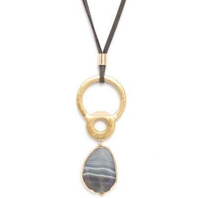 Splendid Iris Abstract  Semi Precious Stone Necklace