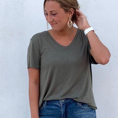 Hyfv Short Sleeve Olive Top