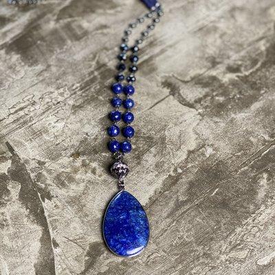 d'Otti Accessories Cobalt blue stone necklace