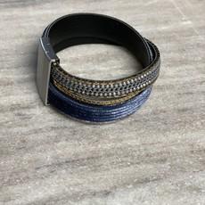 K&K INTERIORS Velvet & Beads Magnetic Bracelet