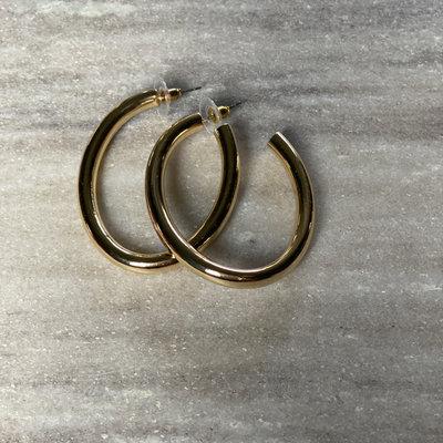 Splendid Iris Oval Thick Hoop Earring