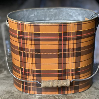 Creative Co-Op Plaid Metal Bucket w/ Handle Med