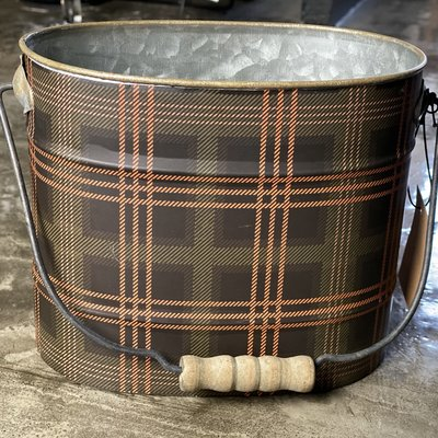 Creative Co-Op Plaid Metal Bucket w/ Handle Small