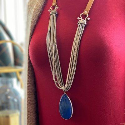 Cobalt  8 strand Silver Necklace